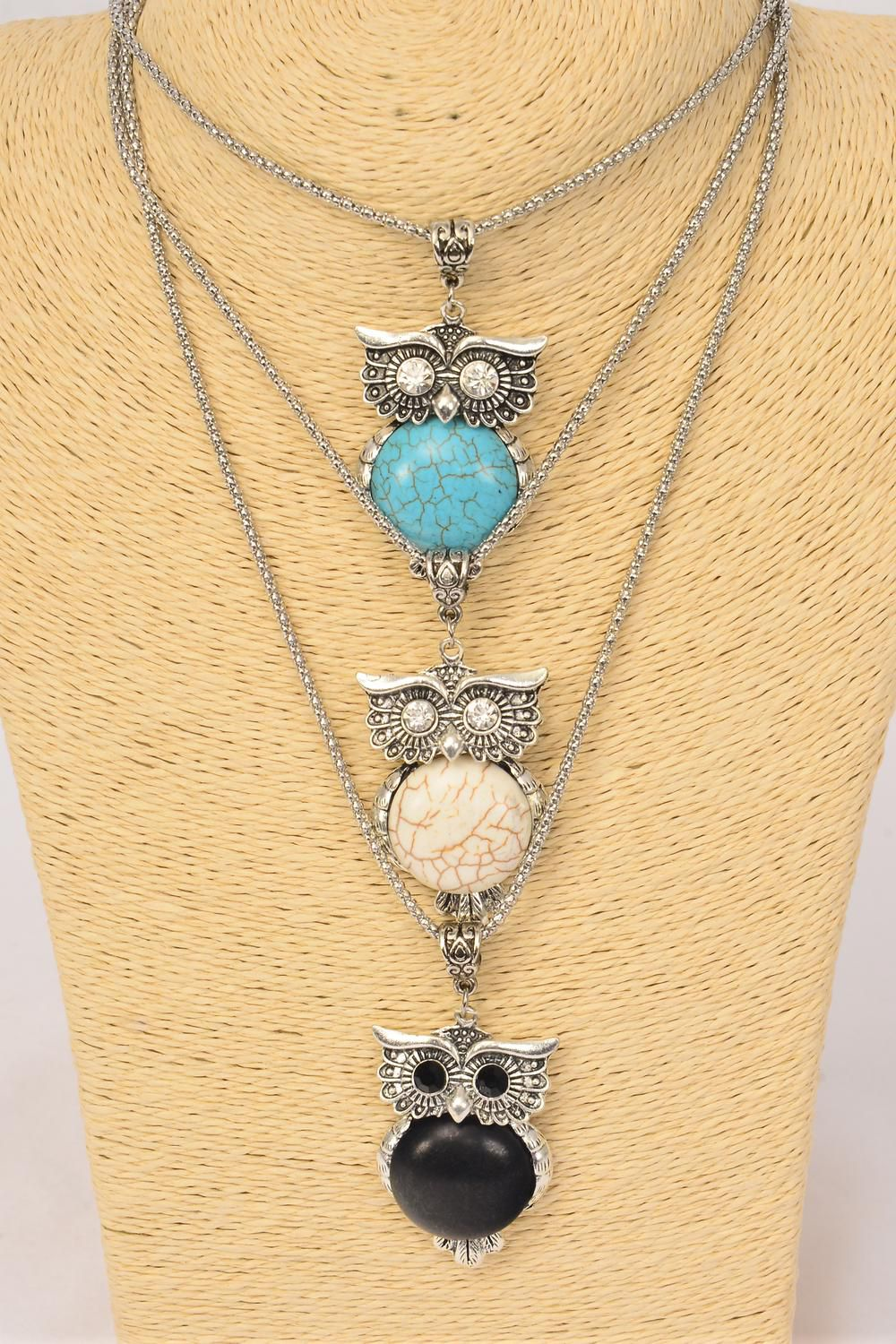 "Necklace Silver Chain Owl Semiprecious Stone/DZ Pendant-1.75"" x 1.25"" Wide,Chain-18"" Extension Chain,4 Ivory,4 Black,4 Turquoise Asst,Hang Tag & OPP Bag & UPC Code"