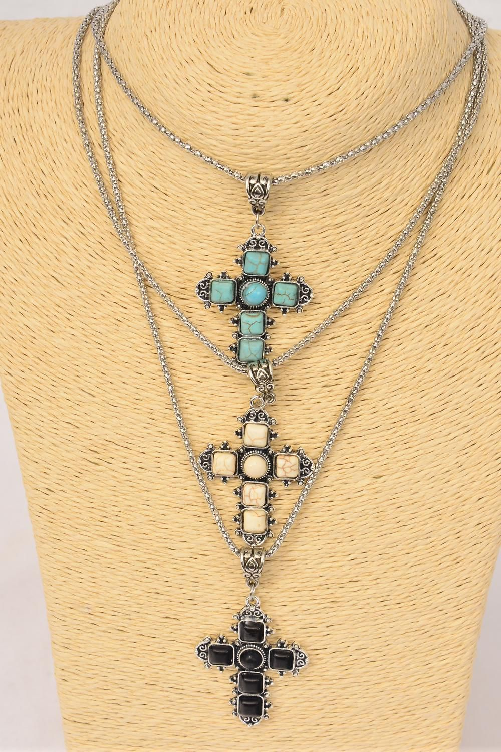 "Necklace Silver Chain Metal Cross Antique Round Semiprecious Stone/DZ Pendant-1.75"" x 1.25"" Wide,Chain-18"" Extension Chain,4 Ivory,4 Black,4 Turquoise Asst,Hang Tag & OPP Bag & UPC Code"