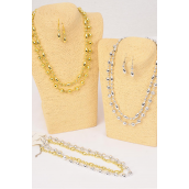 "Necklace Sets 2 Strand Beads Gold & Silver Mix/DZ Size-18"" Long,4 Gold & 4 Silver & 4 Two tone Mix,Hang Tag & OPP Bag & UPC Code -"