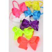 "Elastic Headband Jumbo Bow Caribbean Neon Grosgrain Bow tie/DZ **Caribbean Neon** Bow tie Size-6""x 5"" Wide,2 Purple,2 Pink,2 Blue,2 Orange,2 White,1 Yellow,1 Lime,7 Color Mix,Hang Tag & UPC Code,W Clear Box"