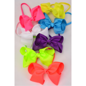 "Elastic Headband Jumbo Bow Caribbean Neon Grosgrain Bow tie/DZ **Caribbean Neon** Bow tie Size-6""x 5"" Wide,2 Purple,2 Pink,2 Blue,2 Orange,2 White,1 Yellow,1 Lime,7 Color Mix,Hang Tag & UPC Code,W Clear Box"