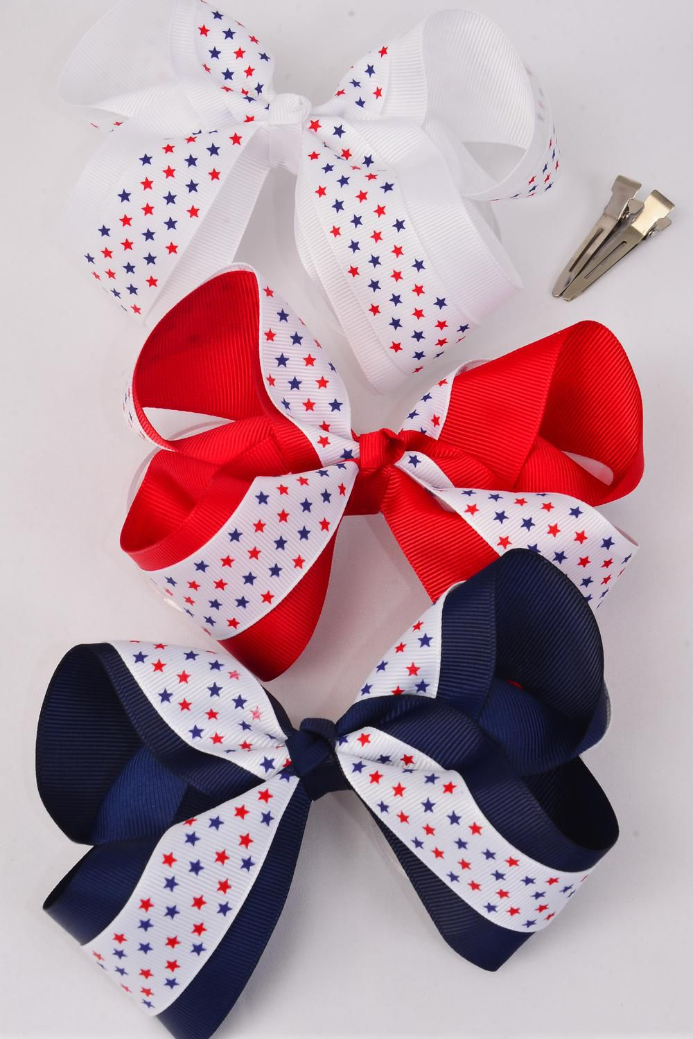 "Hair Bow Jumbo Double Layered Patriotic Bow Stars Red & White & Navy Mix Grosgrain Bow-tie/DZ **Alligator Clip** Bow-6""x 5"" Wide,4 of each Color Asst,Clip Strip & UPC Code"