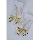"Earrings Metal Gold Art Design/DZ **Fish Hook** Size-2.75""x 1.25"" Wide,Earring Card & OPP bag & UPC Code"