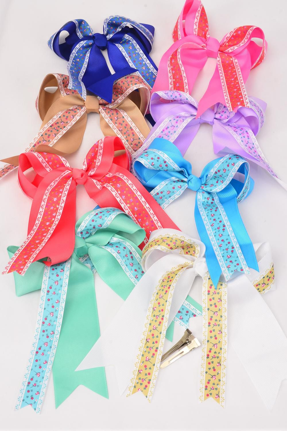 "Hair Bow Long Tail Double Layer Country Floral Grosgrain Bowtie/DZ **Multi** Alligator Clip,Bow-6.5""x 6"",2 Royal Blue,2 Purple,2 Pink,2 White,1 Khaki,1 Blue,1 Coral,1 Mint Green,8 Color Asst,Clip Strip & UPC Code"