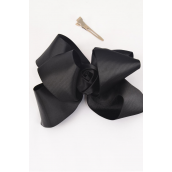 "Hair Bow Extra Jumbo Rose Grosgrain Bow-tie Black/DZ **Black** Alligator Clip,Size-6""x 5"" Wide,Clear Strip & UPC Code"