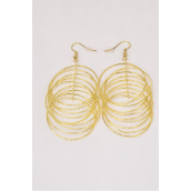 "Earrings Gold Dangle Mesh Circles/DZ **Fish Hook** Size-2.5""x 1.5"" Wide,Earring Card & OPP Bag & UPC Code"