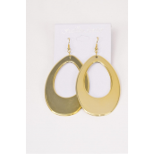 "Earrings Oval Gold/DZ **Fish Hook** Size-2.75""x 1.75"" Wide,Finish 2 Sides,Earring card & Opp Bag & OPP Bag & UPC Code"