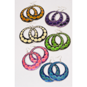 "Earrings Metal Round Enamel 2 tone Mix/DZ **Fish Hook** Size-2.25"" Wide,2 of each Color Asst,Earring Card & Opp Bag & UPC Code -"