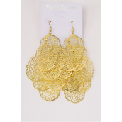 "Earrings Gold Filigree Drops/DZ **Fish Hook** Size-3.5""x 2"" Wide,Earring Card & OPP Bag & UPC Code"