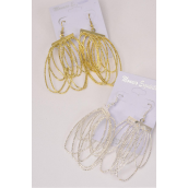 "Earrings Metal Mesh Oval Circles/DZ **Fish Hook** Size-2.5""x 1"",Choose Gold Or Silver Finishes,Earring Card & OPP bag & UPC Code"
