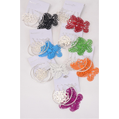 "Earrings 3 Pair Mix Shape Design w Color Butterfly/DZ Size-Butterfly -2.25""x 2"" Wide,Loop 2.5"",Flower-1"" Wide,2 Bk,2 Red,2 White,2 Blue,1 Lime,1 Orange Mix, OPP Bag & UPC Code,3 pair /Card,12 card= Dozen"