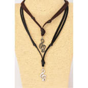 Leather Necklace Music Note Symbol/DZ **Adjustable** Unisex ,6 Black & 6 Brown Leather Mix,Hang Tag & OPP Bag & UPC Code