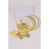 "Earrings 3 pair Gold Metal 2 pair Loop & Butterfly/DZ **Gold** Size Loop-2.25"",Butterfly-2.25""x 2"" Wide,Earring Card & OPP Bag & UPC Code Code,3 pair per Card,12 card=Dozen"