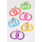 "Earrings Acrylic Round Citrus/DZ **Post** Size-2"" Wide,2 of each Color Asst,Earring Card & OPP Bag & UPC Code"