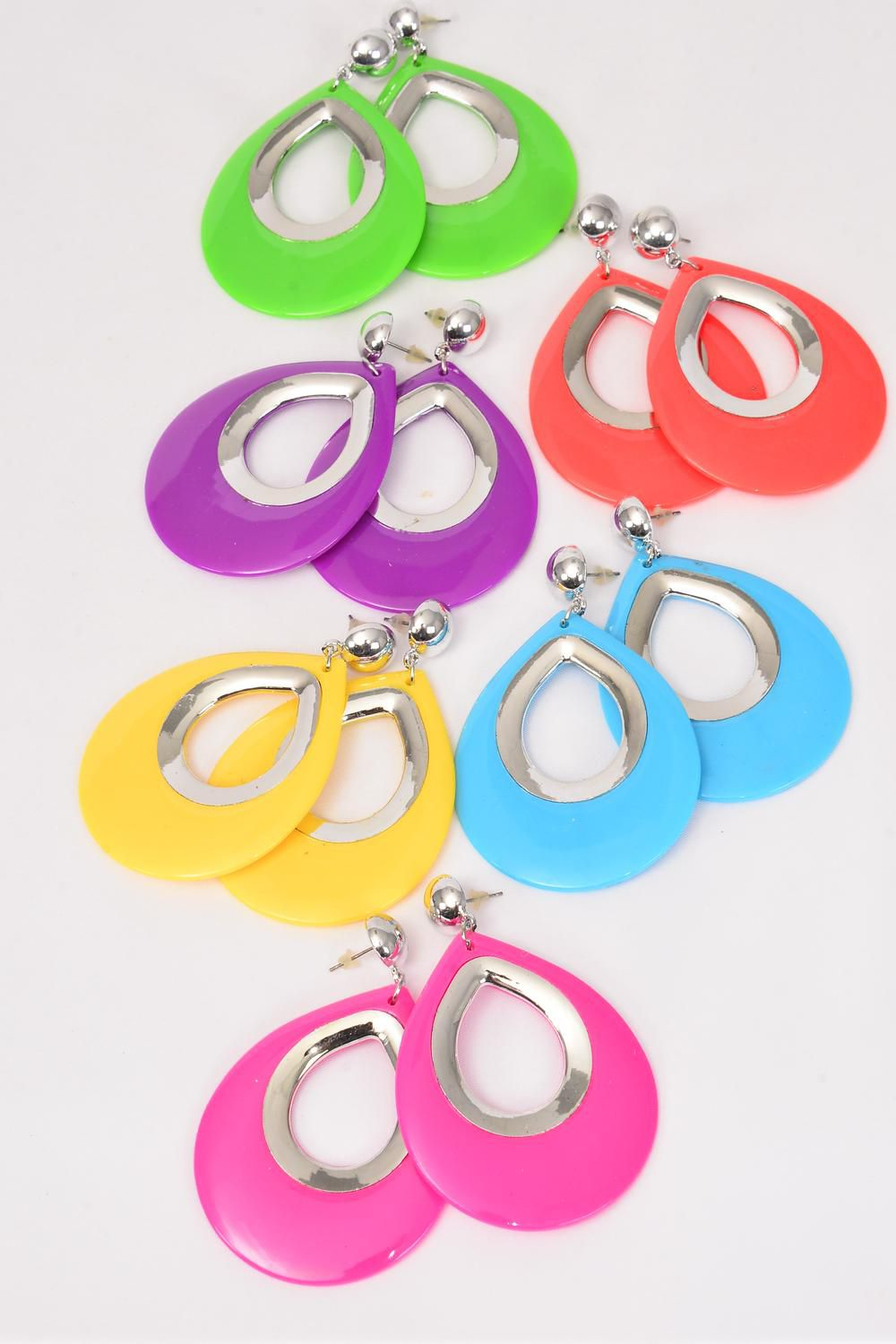 "Earrings Acrylic Teardrop Citrus/DZ **Post** Size-Teardrop 2.25""x 2"" Wide,2 of each Color Asst,Earring Card & Opp Bag & UPC Code"