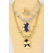 "Necklace Sets Poly G/S Oval Pendant/DZ Size-20"",choose Gold or Silver finish,Hang Tag & OPP Bag & UPC Code"