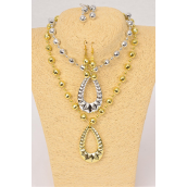 "Necklace Sets Acrylic Teardrop Pendant/DZ 20"" Long,Choose Gold Or Silver Finish,Hang Tag & OPP Bag & UPC Code -"