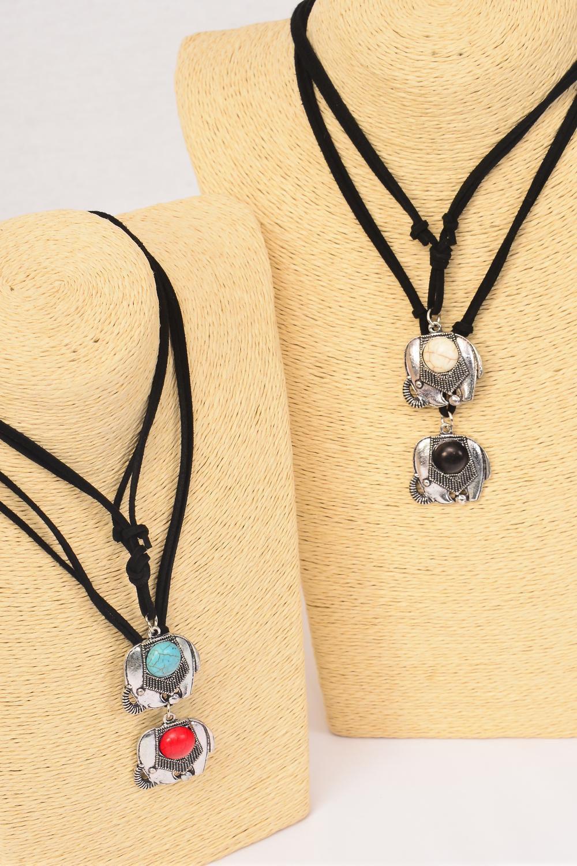 Necklace Leather Feel Elephant Pendant Semiprecious