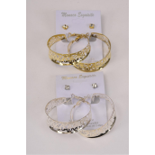 "Earrings 2 pair Filigree Hoop & Clear Rhinestone Studs/DZ **Post** Hoop Size-1.75"" Wide,Earring Card & OPP Bag & UPC Code,Choose Colors,12 card=Dozen"
