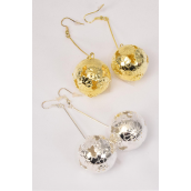 "Earrings Filigree Balls Gold & Silver Mix/DZ **Fish Hook** Size-3"" Long,18 mm Balls,Earring Card & OPP bag & UPC Code -"