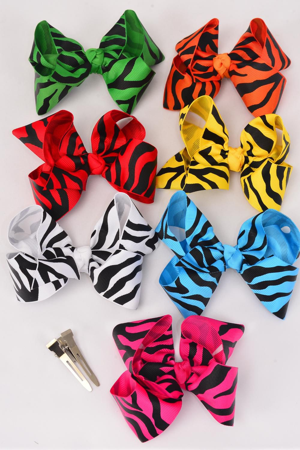 "Hair Bow Large Bow-tie Zebra Prints Grosgrain Fabric Alligator Clip/DZ **Alligator Clip** Bow Size-4.5""x 3.5"" Wide,2 Red,2 White,2 Fuchsia,2 Yellow,2 Blue,1 Green,1 Orange mix,Display Card & UPC Code, Clear Box"