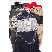 "Scarf & Hat Sets Snow Flake & Dear Head wear/6 Sets per Pack 1/2 DZ Pack,Scarf Size-64""x 8"" Wide,Colors-1 Black,1 Red, Gray,1 Khaki,1 Brown,1 Navy,6 Color Mix,OPP bag & UPC Code -"