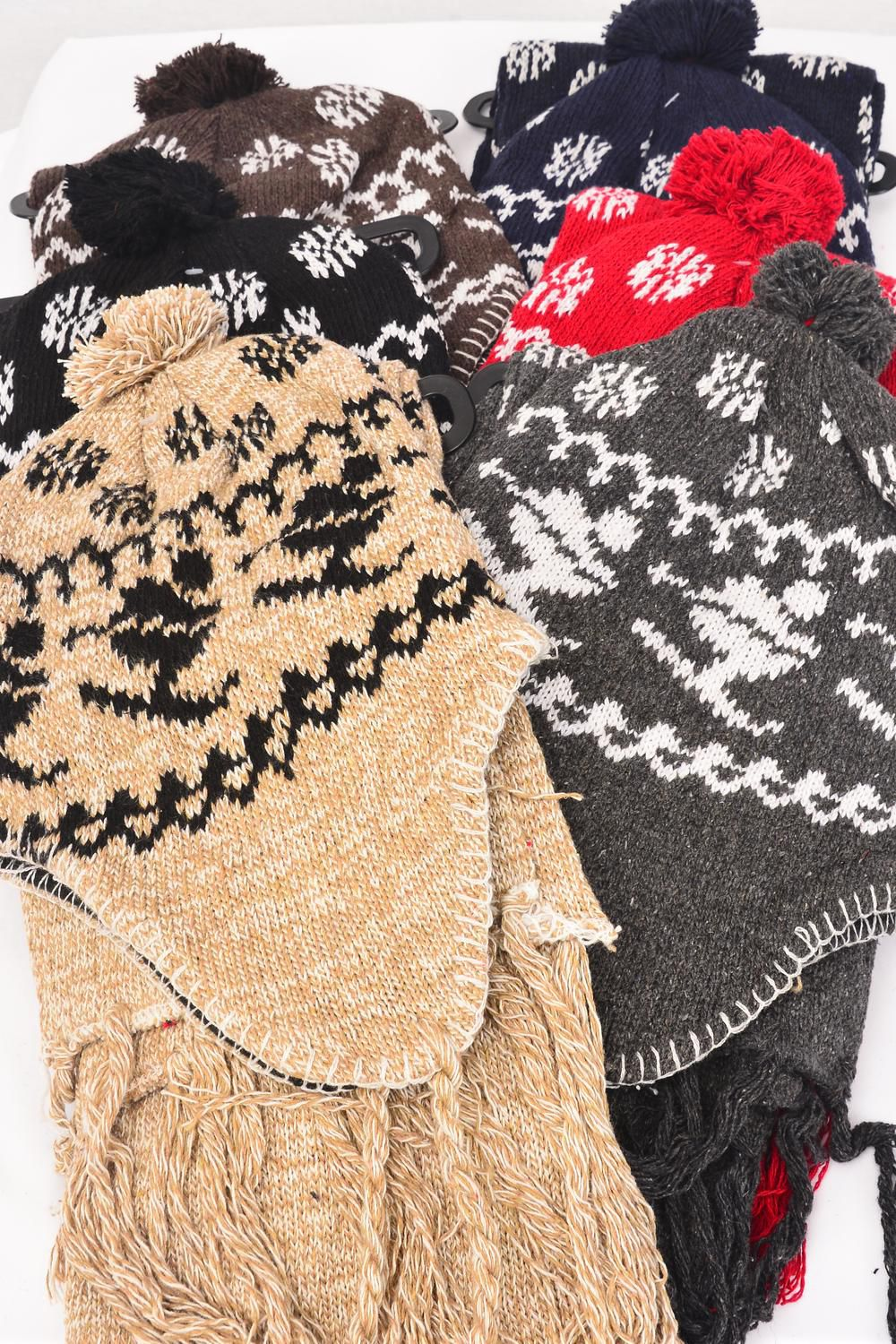 "Scarf & Hat Sets Snow Flake & Ski Head wear/6 sets per PacK 1/2 DZ Pack,Scarf Size-64""x 8"" Wide,Colors-1 Black,1 Red, 1Gray,1 Khaki,1 Brown,1 Navy,6 Color Mix,OPP bag & UPC Code -"