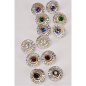 "Earrings Clear Round  Center Color Rhinestones Multi/DZ **Post** Multi,Size-0.75"",2 of each Color Asst,Earring Card & OPP Bag & UPC Code"
