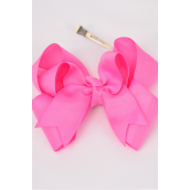 "Hair Bow Jumbo Double Layer Hot Pink Grosgrain Fabric Bow-tie/DZ **Hot Pink** Alligator Clip,Size-6""x 6"" Wide,Clip Strip & UPC Code"