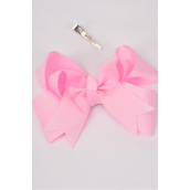 "hair bow jumbo double Layer Baby Pink Grosgrain fabric bow-tie/dz **Baby Pink** Alligator Clip,Size-6""x 6"" Wide,Clip Strip & UPC Code"