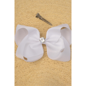 "Hair Bow Jumbo Center 12 mm CZ Cubic Zirconium Grosgrain Bow-tie White/DZ **White** Alligator Clip,Size-6""x 5"" Wide,Clip Strip & UPC Code"