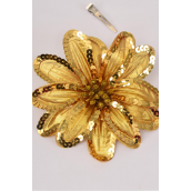 "Sequin Flower Jumbo Gold Alligator Clip/DZ **Gold** Size-6"" Wide, Alligator Clip & Elastic Pony & Brooch,Display card & UPC Code,W Clear Box"