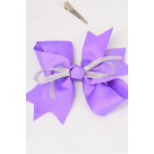 "Hair Bow Large Grosgrain Bowtie Center Silver Bowtie Lavender/DZ **Lavender** Alligator Clip,Size-6""x 5"" Wide,Clip Strip & UPC Code"
