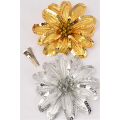 "Sequin Flower Jumbo Gold & Silver Mix Alligator Clip/DZ Size-6"" Wide, Alligator Clip & Elastic Pony & Brooch,6 Gold & 6 Silver Mix,Display card & UPC Code,W Clear Box"