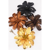 "Sequin Flower Jumbo Browntone Mix Alligator Clip & Brooch Mix/DZ **Brown Tone Mix** Size-6"" Wide,Alligator Clip & Elastic Pony & Brooch,3 of each Color Asst,Display Card & UPC Code,Clear Box -"