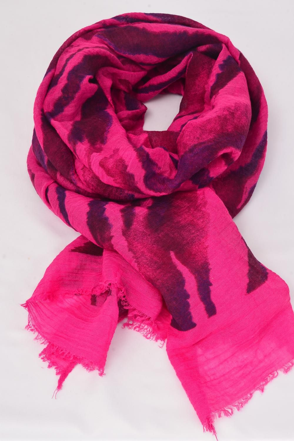 "Scarf Polyester Pink/PC **Pink** Size-71""x 28"" Wide,Individual OPP Bag & UPC Code"
