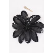"Sequin Flower Jumbo Black Alligator Clip/DZ **Black** Size-6"" Wide, Alligator Clip & Elastic Pony & Brooch,Display card & UPC Code,W Clear Box"