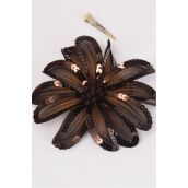 "Sequin Flower Jumbo Dark Brown Alligator Clip/DZ **Dark Brown** Size-6"" Wide, Alligator Clip & Elastic Pony & Brooch,Display card & UPC Code,W Clear Box"
