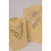 "Necklace Sets Design Rhinestones Post/Sets **Post** 18"" Extension Chain,Choose Gold or Silver Finishes, Black Velvet Display Card & OPP bag & UPC Code"