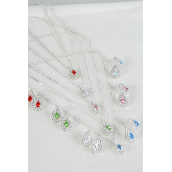 "Necklace Sets Rhinestone Teardrop Pendant/Sets **Post** 18"" Long Extension Chain,Black Velvet Display Card & OPP Bag & UPC Code,Choose Colors -"