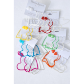 "Earrings 3 pair Epoxy Heart Mix Shape Mix/DZ Heart Size-2.5"" Wide,Choose Colors,Earring Card & Opp Bag & UPC Code, 3 pair per card,12card=Dozen"