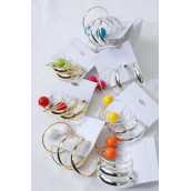"Earrings 3 Pair 12 mm Color Ball & 1.75"" Hoop Mix/DZ Hoop Size-1.75"" Wide,6 Gold & 6 Silver Mix,7 Color Ball,Earring Card & OPP Bag & UPC code,3 Pair per card,12 card=Dozen -"