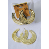 "Earrings Gold Metal Loop Design/DZ **Post** Size-2.25"" Wide,Finish 2 Sides,Earring Card & OPP Bag & UPC Code -"