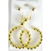"Earrings 3 Pair Gold Beads/DZ Loop Size-2"" Wide,Ball-10 mm,Earring Card & OPP Bag & UPC Code -"