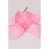 "Hair Bow Cheer Type Bow Baby Pink Alligator Clip Grosgrain Fabric Bow-tie/DZ **Baby Pink** Size-8""x 7"" Wide,Alligator Clip,W Clip Strip & UPC Code"