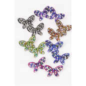 "Earrings Butterfly Acrylic Stones/DZ **Post** Size-1.5""x 1"" Wide,2 of each Color Asst,Earring card & Opp bag & UPC Code -"