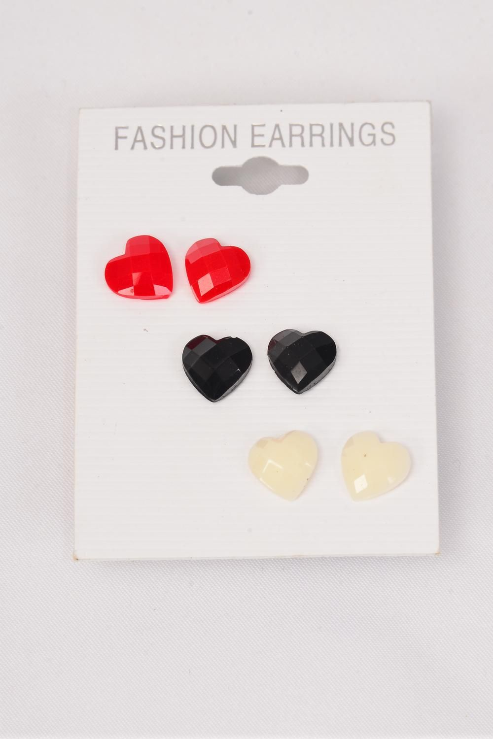 Earrings 3 Pair Poly Heart Red White Black Mix/DZ **Post** Red White Black Mix,Earring Card & Opp Bag & UPC Code,3 pair per Card,12 card=Dozen
