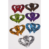 "Earrings Metal Heart Zebra/DZ **Fish Hook** Size-2.5""x 2.5"" Wide,Choose Colors,Earring Card & OPP Bag & UPC Code"