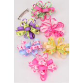"Hair Bow Loop Bow Heart Prints Grosgrain Fabric/DZ **French Clip** Bow-4.5""x 3"" Wide,2 of each Color Asst,Clear Strip & UPC Code"