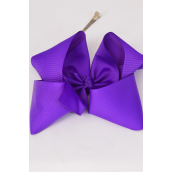 "Hair Bow Cheer Type Bow Alligator Clip Grosgrain Fabric Bow-tie Purple/DZ **Purple** Size-8""x 7"" Wide,Alligator Clip,Clip Strip & UPC Code -"